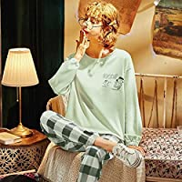 春と秋の新しい長袖のパジャマ、プラスサイズのパジャマ、女の子のためのかわいい漫画パジャマ、カジュアルなホームサービススーツ (Color : 02, Size : XXXL(77.5-90Kg))