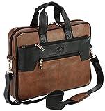 Storite PU Leather 14 Inch Laptop Messenger Shoulder Sling Office Travel Bag for Men & Women (39cm x 29cm x 5.5cm, Black/Brown)
