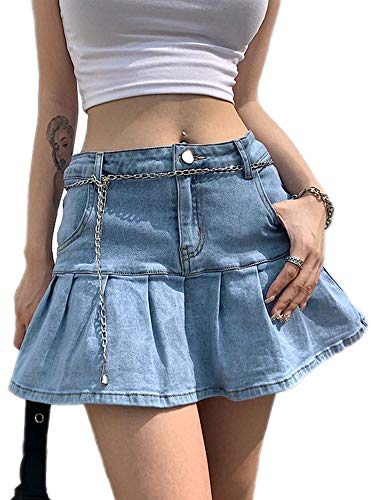 superchao Minifalda de mezclilla informal para mujer, corte acampanado, plisada, con volantes