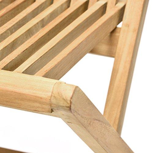 DIVERO 2er-Set Klappstuhl Teakstuhl Gartenstuhl Teak Holz Stuhl für Terrasse Balkon Wintergarten witterungsbeständig behandelt massiv klappbar natur - 6