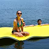 GYMAX Floating Water Pad, 9'/18' x 6' Water Foam Mat with Rolling Pillow, 3-Layer Floating Island for Pool River Lake Beach Ocean Water Activities (Yellow, 9 Feet)