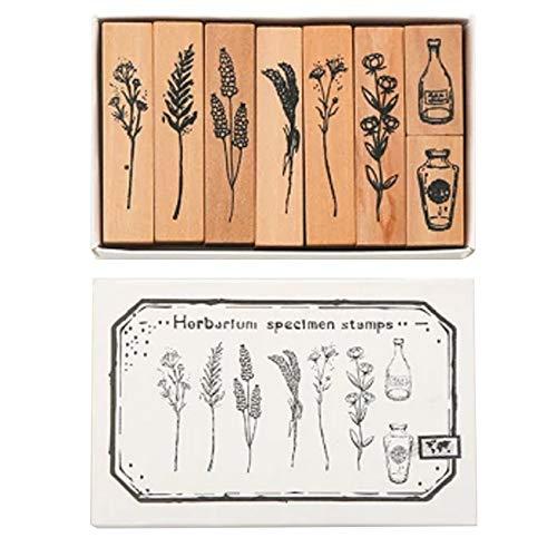 Chnrong - Juego de sellos de madera, 8 piezas de sello de madera vintage de goma, diseño de plantas naturales en caja para álbumes de recortes y álbumes de fotos