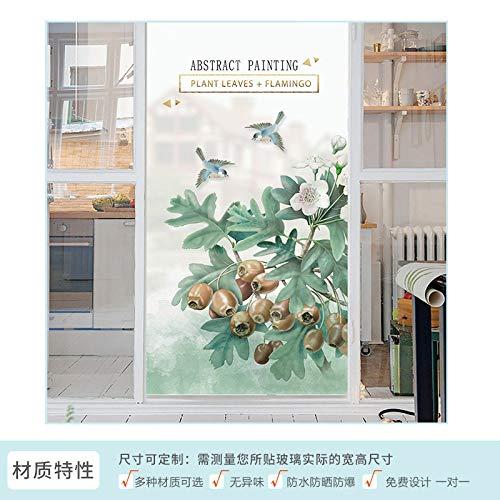 TFOOD raamfolie, raamfolieesthetische bladgroene vogel witte bloemstatisch gematteerde stickers opaak glasdecoratie, zelfklevende uv-bescherming voor keuken, badkamer, woonkamer
