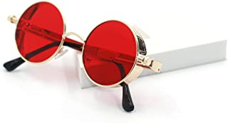 Retro Gothic Steampunk Sunglasses for Women Men Round Lens Metal Frame