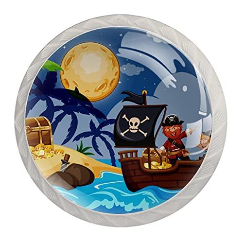 Perillas de cajón para puerta de armario de piratas y niños, 4 unidades, redondas, sólidas para oficina, hogar, cocina, baño