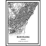 Squareious Barcelona map Poster Print | Modern Black and White Wall Art | Scandinavian Home Decor | Spain City Prints Artwork | Fine Art Posters 8.5x11