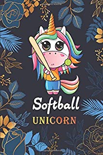 Softball Unicorn: Journal and Composition book, Softball Players Notebook, Obsessed girl Softball Gifts, Softball Girls Birthday Present, Floral Softball For Coach, Birthday gift for girlfriend