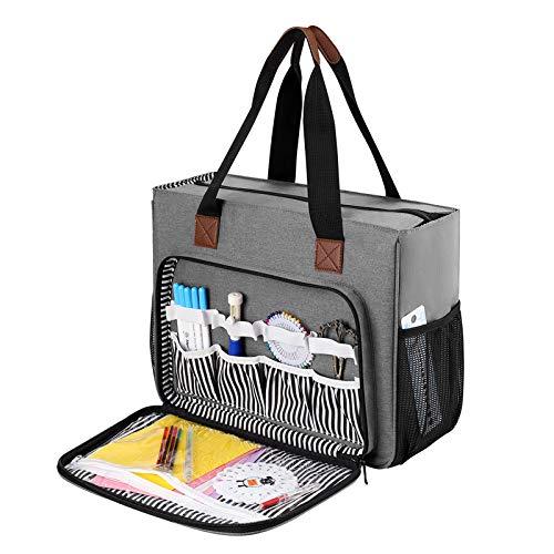 Coopay Bolsa punto cruz, diseño bordado, bolsa manualidades con compartimentos, bolsa grande para almacenar bordado de hilo de bordado, kit de agujas y aros bordado, resistente a la humedad, gris