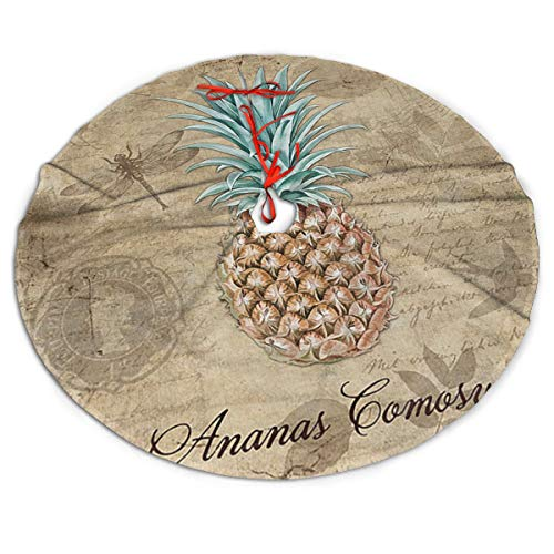 Efyh Christmas Tree Skirt Vintage Botanicals Pineapple Dragonfly Snowman Xmas Tree Skirt Holiday Festive Decorations Ornaments Party Supplies 30'
