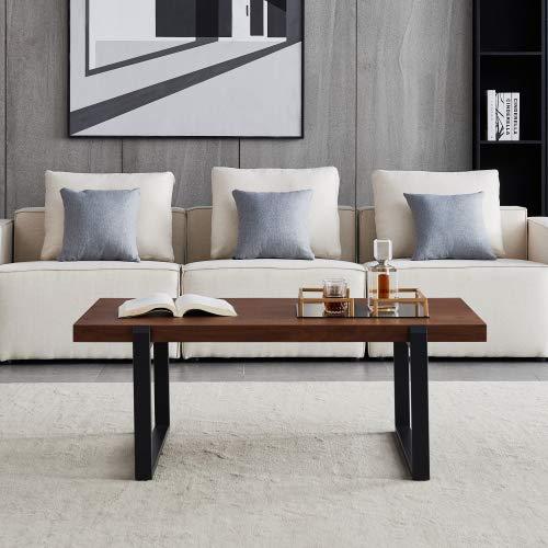 YOTH Tavolino da salotto minimalista, telaio in metallo nero con piano in noce