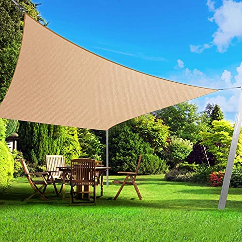 BELLE DURA Sun Shade Sail Canopy for Patio,Lawn,Garden, Backyard,Pool,Deck,Yard,Park,Carport,Outdoor 5Years Warranty (Rectangle-10'X13', Sand)