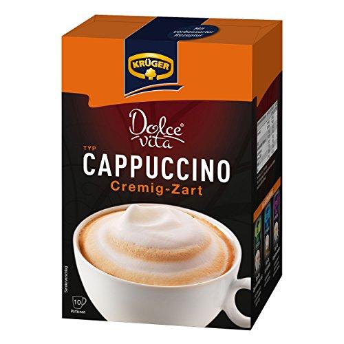 Krüger Dolce Vita Cappuccino, Cremig-Zart, Milchkaffee, Milch Kaffee aus löslichem Bohnenkaffee, 10 Portionsbeutel