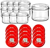 gouveo Juego de 15 tarros vacíos de 230 ml, incluye tapa de diseño, varios diseños, tarros de conserva, tarros de mermelada, tarros para conservas (regalo rojo, 12)