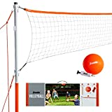 Franklin Sports Volleyball Set - Backyard Volleyball Net Set with Volleyball, Portable Net & Ground Stakes - Beach or Backyard Volleyball - Starter