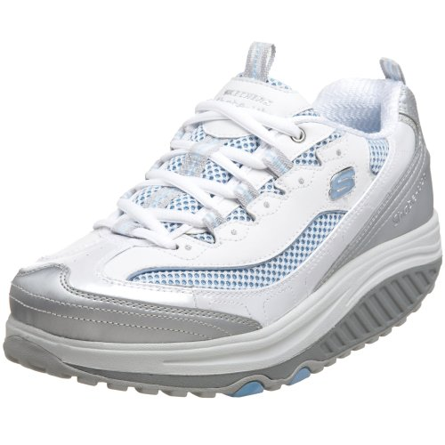 Skechers Women's Shape Ups Jump Start Fitness Walking Shoe,White/Silver/Light Blue,6.5 M US