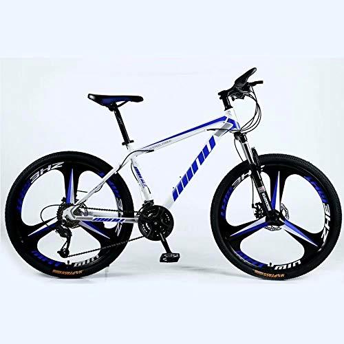 NOVOKART Bicicleta de Montaña Unisex 26 Pulgadas, MTB para Adultos, Blanco Azul, Rueda de 3 cortadores, Cambio de 27 etapas