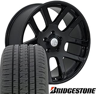 OE Wheels 22 Inch Fits Chrysler Aspen Dodge Dakota Durango Ram 1500 RAM SRT Style DG51 Gloss Black 22x10 Rims Hollander 2223 Bridgestone Dueler Alenza HL Tires SET