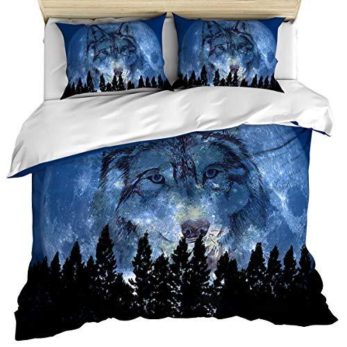 Funda nórdica de lujo para ropa de cama, funda nórdica de lobo y fundas de almohada, juego de cama de 3 piezas, juego de funda nórdica suave / acogedora de algodón con luna de animales silvestres para