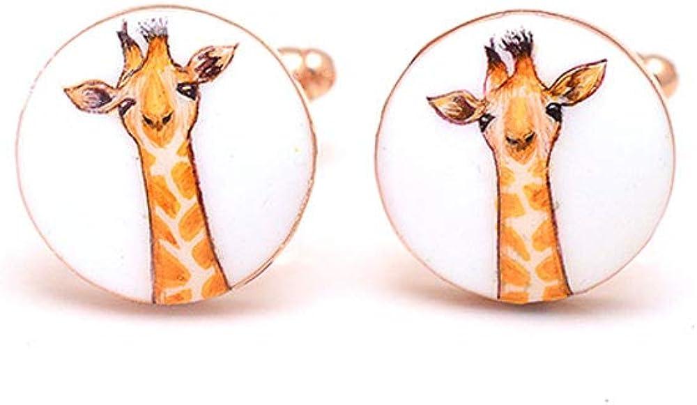 Rosec Jewels Unique Engraved Giraffe Cufflinks for Him, Coll Swank Animal Enamel Cufflink, Personalized Birthday Anniversary Mens Cufflink, Yellow Wedding Cufflink