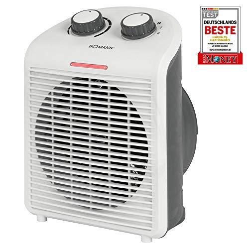 Bomann Heizlüfter HL 6040 CB, mobiler&kompakter Heizlüfter, 2 Heizstufen (1000/2000 W), Kaltstufe (Ventilator), weiß
