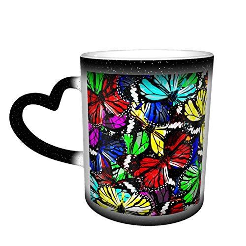 Taza de café con diseño de mariposa colorida, diseño de taza de cerámica sensible al calor, taza que cambia de color en el cielo, 11 oz