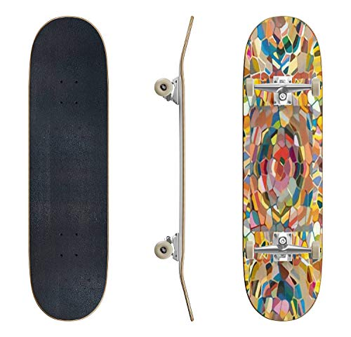 AndrewWMorton Skateboard Complete Colourful Seamless Ornamental Rose Background Made of Mosaic New Skateboard 31''x 8'', Canadian Maple Trick Skateboards for Teens Beginners Girls Boys Kids Adults