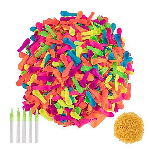 SIMUER Globos de Agua 1000 Magic Water Balloons Bombas de Agua Juguete acuático Niños 1000 Bandas de Goma y 5 aplicadores de Juguete