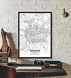 ZWXDMY Leinwand Bild,Frankreich Rennes Stadtplan Schwarz