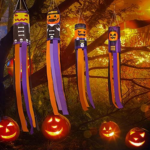 Vanplay Calabazas Halloween Manga de Viento, Decoración Colgante de Halloween Fiesta para Jardín Césped Patio 4 Piezas