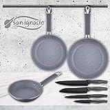 San Ignacio Set de 3 sartenes Premium + 4 Cuchillos de Cocina, Pack Home