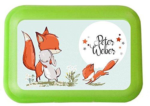 wolga-kreativ Aufkleber wasserfest-e Fuchs Hase für Brotdose Wunschname personalisiert mit Name-n Schulanfang Namensaufkleber Namensetiketten Mädchen Junge Kinder Schule selbstklebend