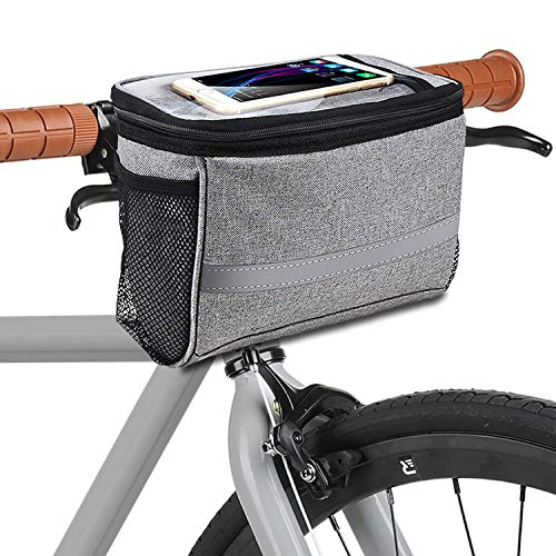 MATTISAM Bike Handlebar Bag, Bike Basket with | Mesh Pocket - Cold & Warm Insulation - Reflective Strap - Touchable Transparent Phone Pouch | Bicycle Front Bag, Bike Pouch for Cycling, Women, Cruisers