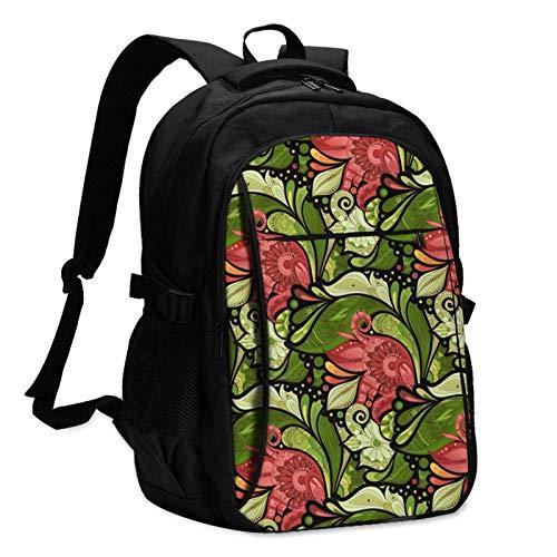 XCNGG Mochila USB con múltiples Bolsillos, Mochila Informal, Mochila Escolar Flower Pelis Unisex Travel Laptop Backpack with USB Charging Port School Anti-Theft Bag