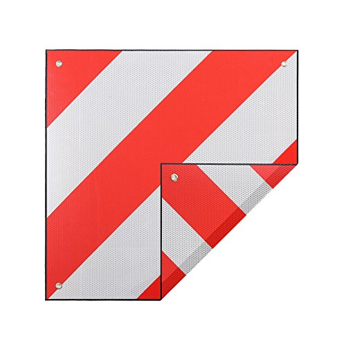 Zelsius 2in1 Aluminium Warntafel für Italien und Spanien | rot-weiß | 50 x 50 cm | Warnschild reflektierend für Fahrradträger, Motorradträger, Heckanhänger, Wohnwagen, Wohnmobil, Anhänger