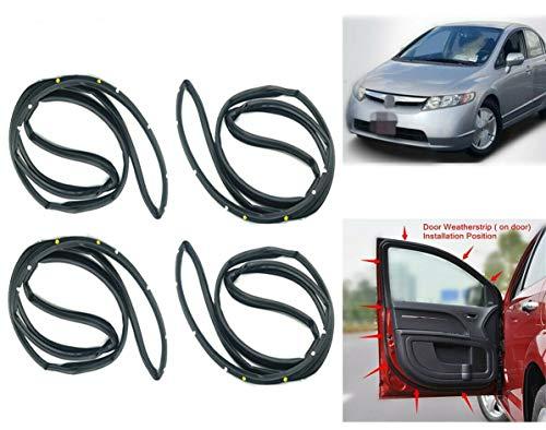 zxsautoparts for Civic 2006-2011 Door Weatherstrip 4PC Sllence Opening Gasket On Door
