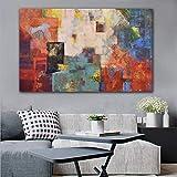 Impresión en lienzo Pintura al óleo abstracta sobre lienzo Carteles e impresiones de pared Arte vintage Imágenes de pared para sala de estar Decoración del hogar 40x60cm Sin marco