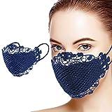 riou Damen Spitze Mundschutz Waschbar Mund und Nasenschutz Elegant Atmungsaktive Bandana Maske Halstuch (C)
