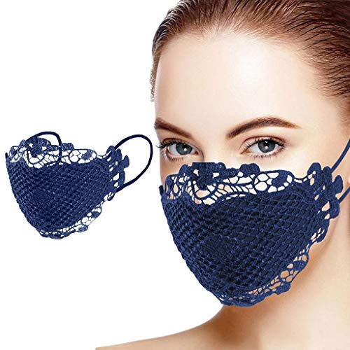 1PC Dust Cloth Lace Face_mask Bandanas Mouth Fabric Reusable Washable Fashion Protection Navy Tape Facemask Womens Mens