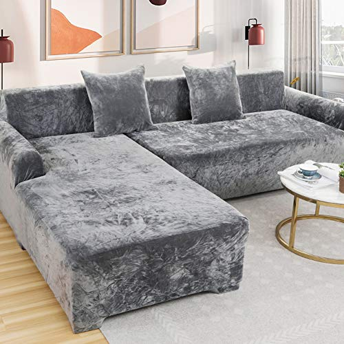 AMYDREAMSTORE Plush Velvet Sofa Cover,Waterproof Sectional Sofa Couch Cover,1 Piece Stretch Slipcover for L-Shaped Couch Cover,Velvet Loveseat Cover Protector-a 4 Seaters 235~300cm(93~118inch)