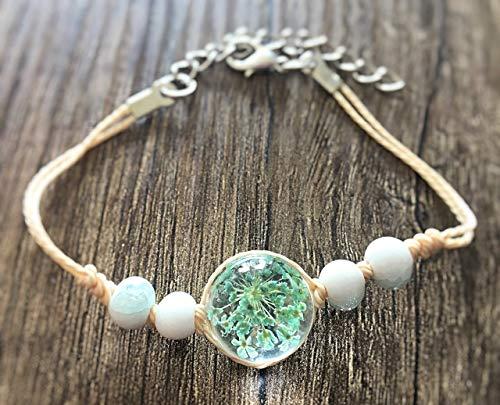 Handmade Armband echte mit Dillblüte türkis blau Glas-Cabochon Halbkugel Perlen Lederband beige verstellbar handgemacht Glücksbringer echter Blume Wunscherfüller Geschenk