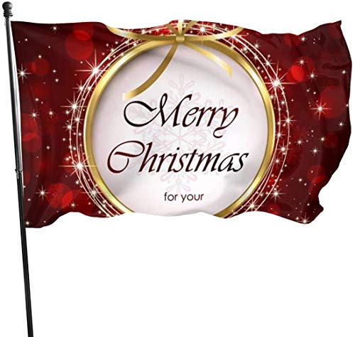 Viplili Banderas, Christmas Decoration Ball Flag 3x5 Ft, Double Stitched Polyester with Brass Grommets 3x5 Feet Flags for Outdoor Indoor Home Decor