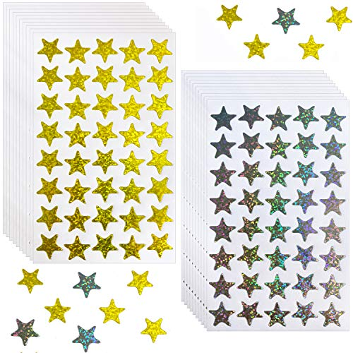 Kenkio 2400 Count Laser Shiny Sparkle Star Stickers Gold Sliver Self Adhesive Star Stickers for Kids Students Rewards Teachers Supplies