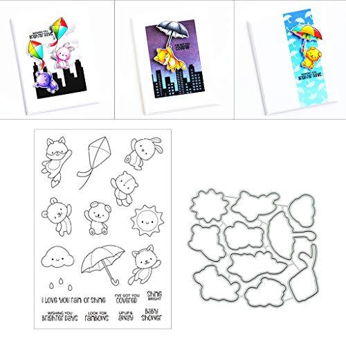 Lottoy Baby Bears Silikon Stempel und Stanzschablonen Set für DIY Kartenherstellung Scrapbooking Album, Fotoalbum Dekoration(Cutting Dies&Clear Stamp Seal)