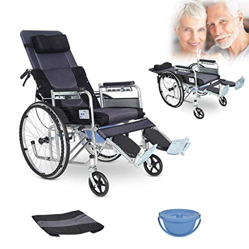 Lightweight Folding Aluminum Alloy Medical Wheelchair with Toilet Seat Multifunctional Trolley Adjustable backrest and Lifting Legs to Rest