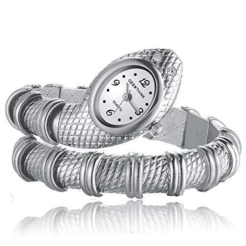 FENKOO Frauen Silberne Schlange Stil Legierung Quarz Analog Armbanduhr