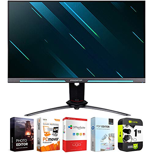 Acer UM.HX0AA.S01 Predator XB273U GSbmiiprzx 27 inch IPS WQHD Gsync Gaming Monitor Bundle with 1 Year Extended Protection Plan and Elite Suite 18 Standard Editing Software Bundle