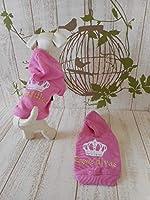 D/DW10(56) トップス クラウン ピンク 犬 服 桃色 パーカー ホワイト 白 ティアラ フード付き (XXS)