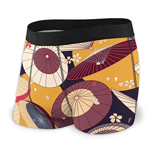 Japanese Traditional Umbrellas and Cherry Blossom Men's Underwear Boxer Briefs Comfortable Briefs Shorts S-XXL