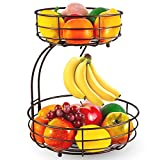 Bextsrack 2-Tier Countertop Fruit Basket Bowl with Banana Hanger for Kitchen, Dining Table