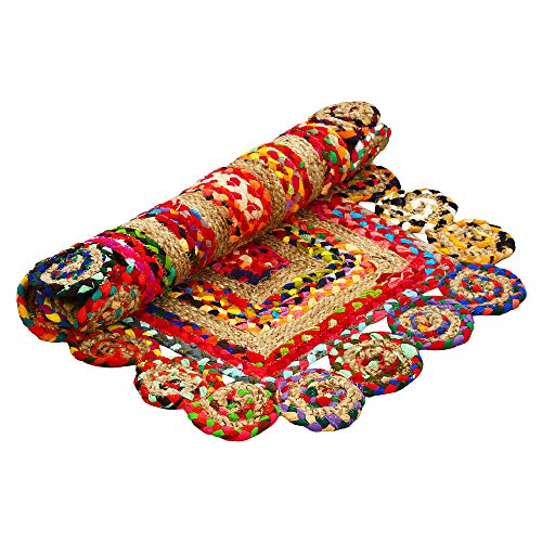 Aakriti Gallery - Alfombra india colorida, decorativa, rectangular con ribete redondo, de algodón y yute, hecha a mano, procedente del comercio justo, reciclada, estilo bohemio 90 x 60 cm.